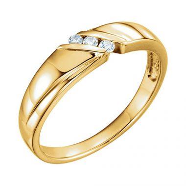 Sieger's Jewelers 14k Yellow .08 CTW Diamond 3-Stone Men's Wedding Band