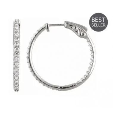 14k White 1 CTW Diamond Inside-out 26.5mm Hoop Earrings