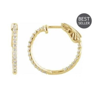 14k Yellow 1 CTW Diamond Inside-out 26.5mm Hoop Earrings