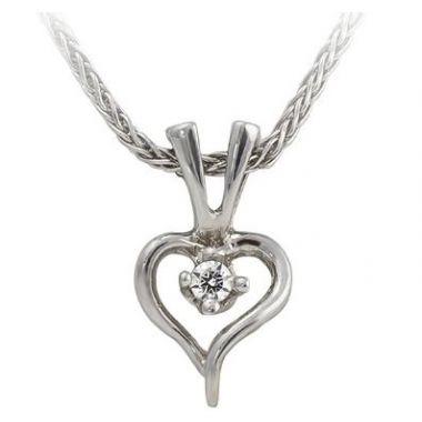 14k Diamond Heart Pendant and Necklace