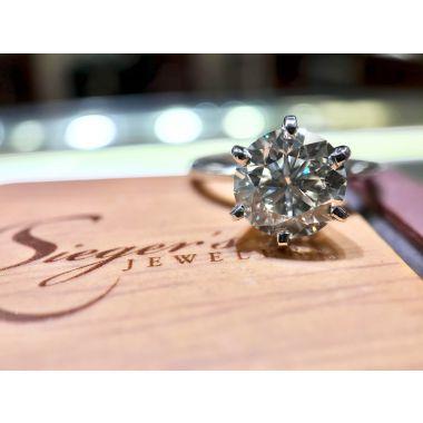 14k White Gold 2.05 Carat Brilliant Round Solitaire Engagement Ring