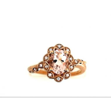 10k Rose AA Oval 8x6 Morganite Diamond Halo Ring