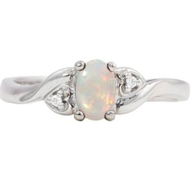 10k White Gold 6x4 Oval Opal & Diamond Ring