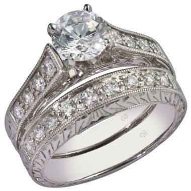 14k White Gold Diamond .24ct Gottlieb & Son Halo Semi-Mount