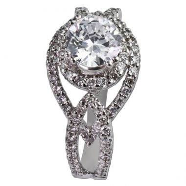 14K White Gold .65CT Diamond Gottlieb & Sons Halo Semi-Mount