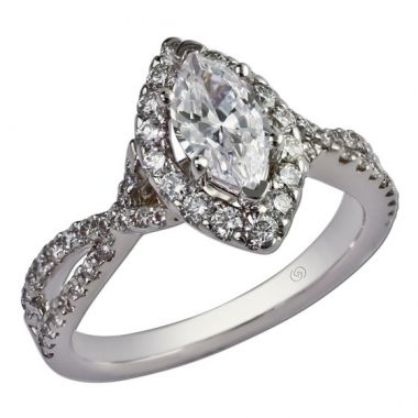 14k White Gold .61CT Gottlieb & Sons Engagement Semi-Set