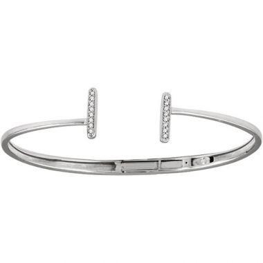 Sieger's Jewelers 14k White Gold Diamond Vertical Bar Cuff Bracelet