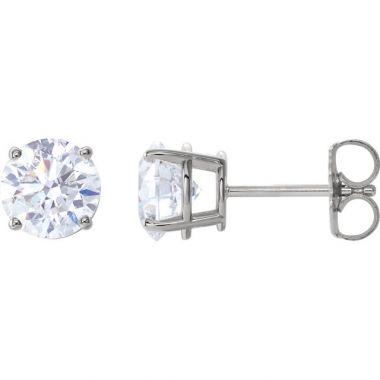 14k White 2 Carat Diamond Stud Earrings