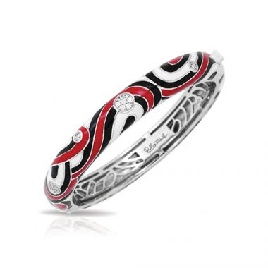 Belle Etoile Vortice Collection Sterling Silver Black and Red Enamel Bangle