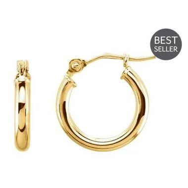 14k Yellow 2 mm Polished Hoop Earrings 13 mm