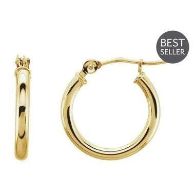 14k Yellow Gold Polished 2 mm Hoop Earrings 15mm