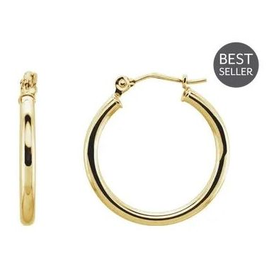 14k Yellow Gold Polished 2 mm Hoop Earrings 20mm