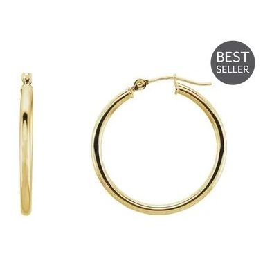 14k Yellow Gold Polished 2 mm Hoop Earrings 25mm
