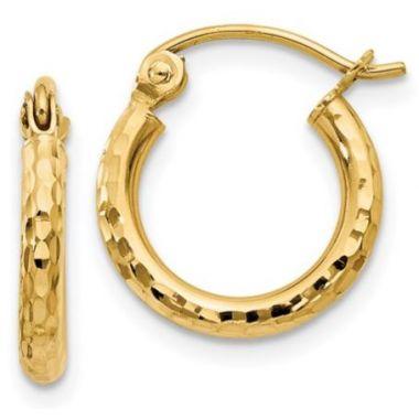 14k Yellow Gold Diamond-Cut 2mm Hoop Earrings 13mm