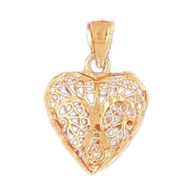 14k Yellow Gold 3-D Diamond Cut Heart Charm