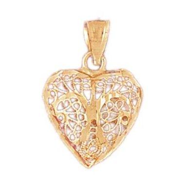 14k Yellow Gold 3-D Diamond Cut Heart Charm