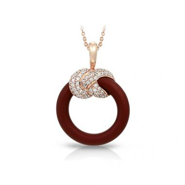 Belle Etoile Ariadne Collection Sterling Silver Rubber Brown and 18K Rose Gold Pendant