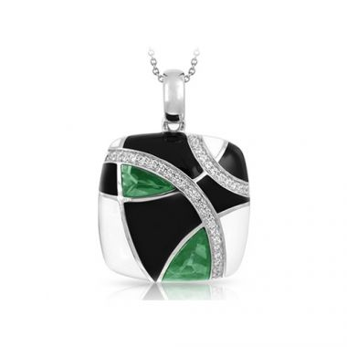 Belle Etoile Tango Collection Sterling Silver Emerald Black and White Enamel Pendant
