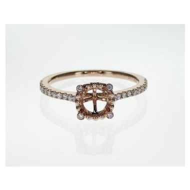 14k Rose Diamond Halo Engagement Ring (.19TW)
