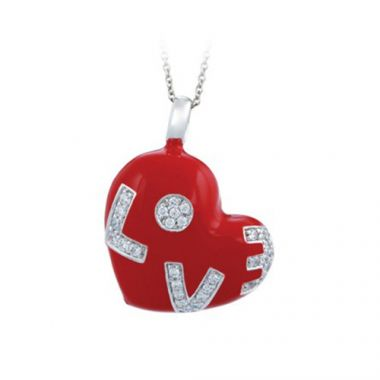 Belle Etoile Love Sterling Silver and Red Enamel Pendant
