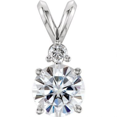 Sieger's Jewelers 14k White Gold Forever One Moissanite & Diamond Accented Pendant