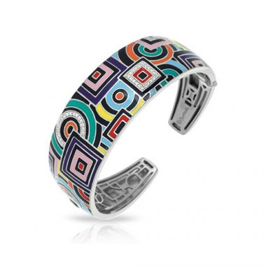 Belle Etoile Geometrica Collection Sterling Silver Multi Enamel Bangle