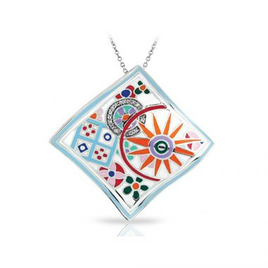 Belle Etoile Pashmina Collection Sterling Silver Multi Enamel Pendant