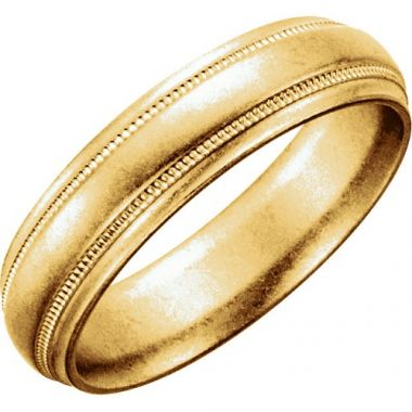 14k Yellow Gold Milgrain Men's Wedding Band