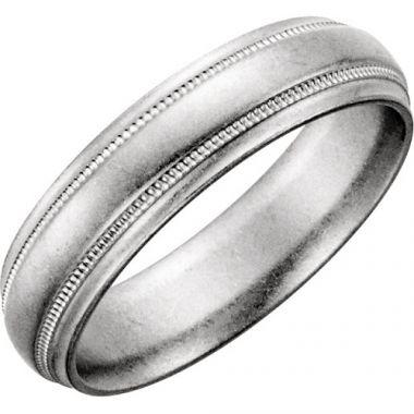 14k White Gold Milgrain Mens Wedding Band