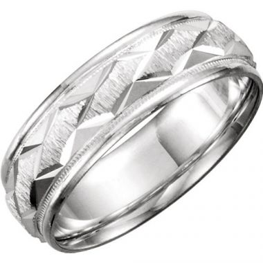 925 Sterling Silver Patterned Mens Wedding Band