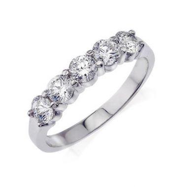 14K White Gold Diamond Engagement Band 1CT