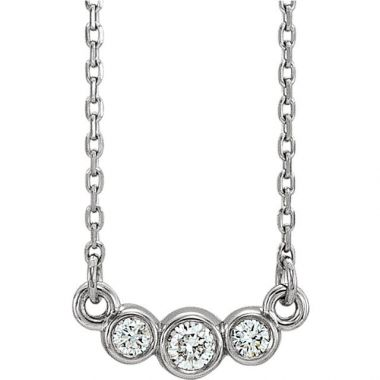 Sieger's Jewelers 14k White Gold Diamond Bezel Set Necklace