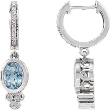 Sieger's Jewelers 14k White Gold Aquamarine and 1/6ct Diamond Earrings