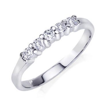 14k White Gold Prong Set Diamond Band 1/4