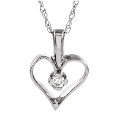 "14k Diamond Heart Pendant with 18"" Necklace"