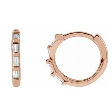 14K 1/10 CTW Diamond Hoop Earrings