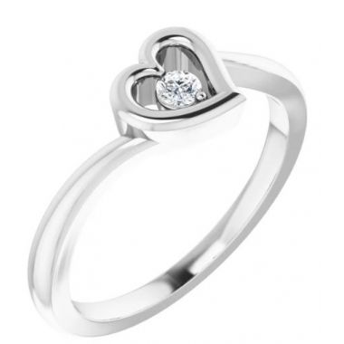 Sterling Silver Heart Ring with CZ
