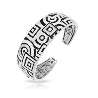 Belle Etoile Geometrica Collection Sterling Silver Black and White Enamel Bangle
