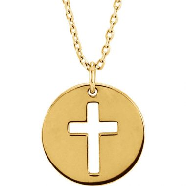 Sieger's Jewelers 14k Yellow Gold Pierced Cross Disc Necklace