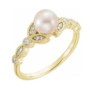 14K Yellow Freshwater Pearl & 1/10 CTW Diamond Leaf Ring