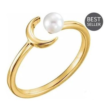 14k 4mm Freshwater Pearl Cresent Ring -  Yellow