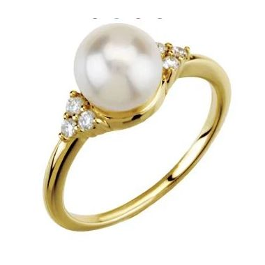 14K Yellow 7.5-8 mm Freshwater Cultured Pearl & 1/8 CTW Diamond Ring