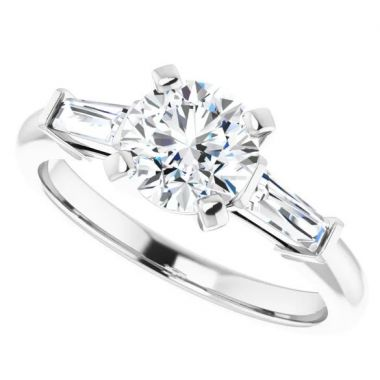 14k Round Diamond Engagement Ring Semi-Mount