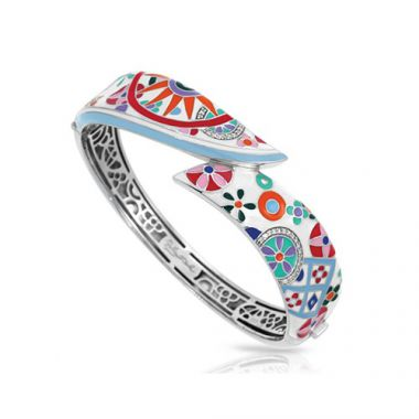 Belle Etoile Pashmina Collection Sterling Silver Multi Enamel Bangle
