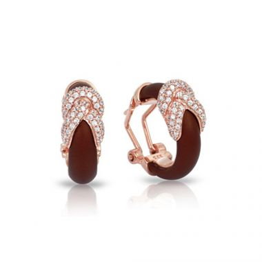 Belle Etoile Ariadne Collection Sterling Silver Rubber Brown and 18k Rose Gold Earrings