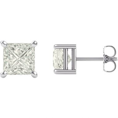 .49 CTW Princess Diamond Studs