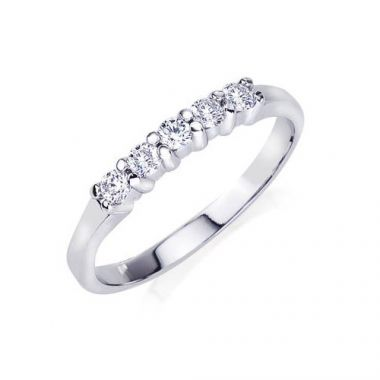Camelot 14K White Gold 0.25ct 5 Stone Diamond Wedding Band