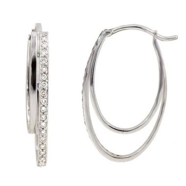 14k White Gold Diamond Hoop Earrings 1/4TW