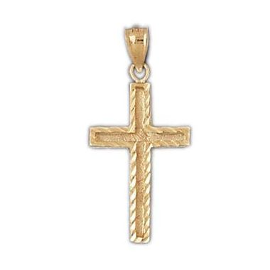 14k Yellow Gold Cross with Diamond Cut Finish
