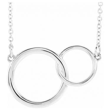 "Sterling Silver 20x14 Interlocking Circle 16""-18"" Necklace"
